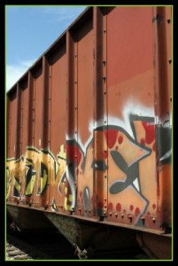 Side image of a train car with graffiti in Beverly Hills, CA